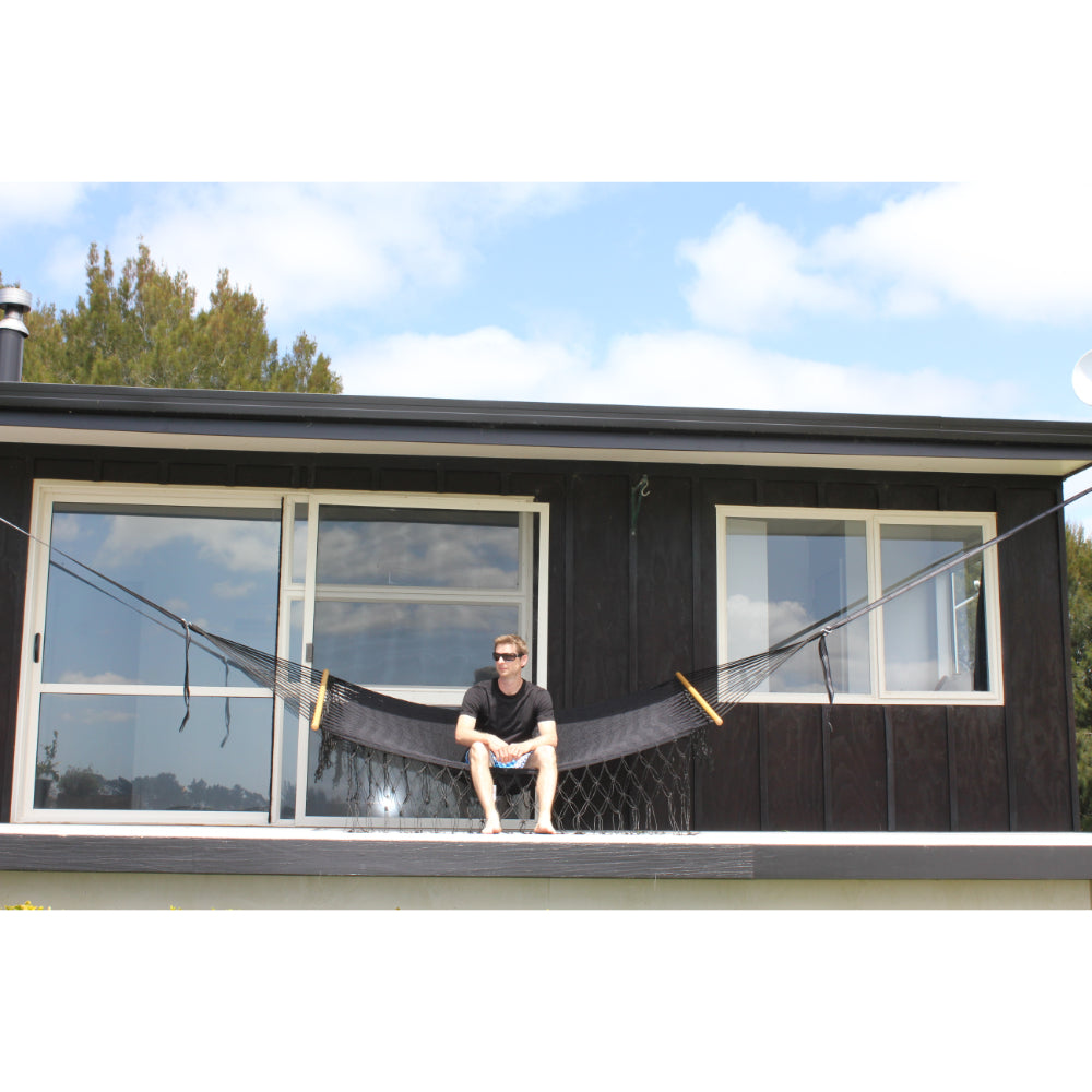 Mexican Polyester Black Spreader Bar Hammock