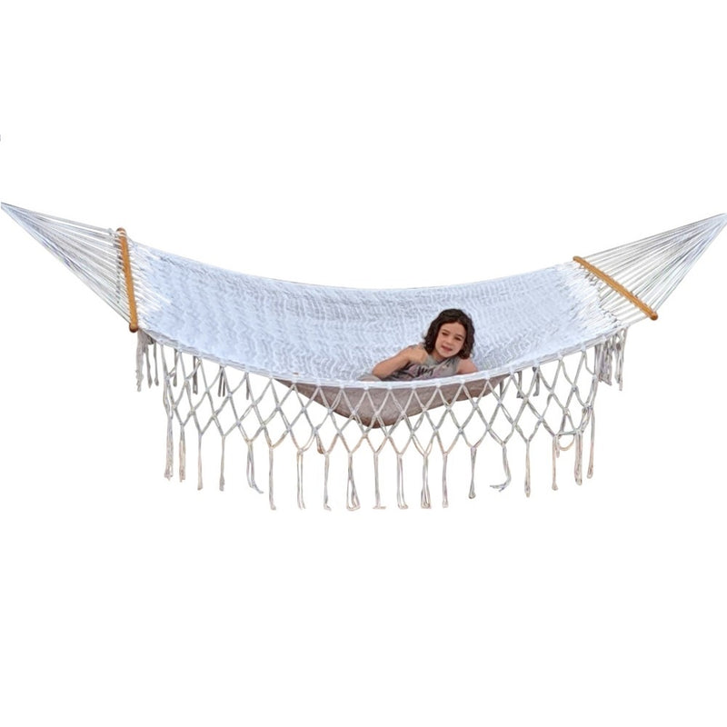White Polyester Mexican Spreader Bar Hammock