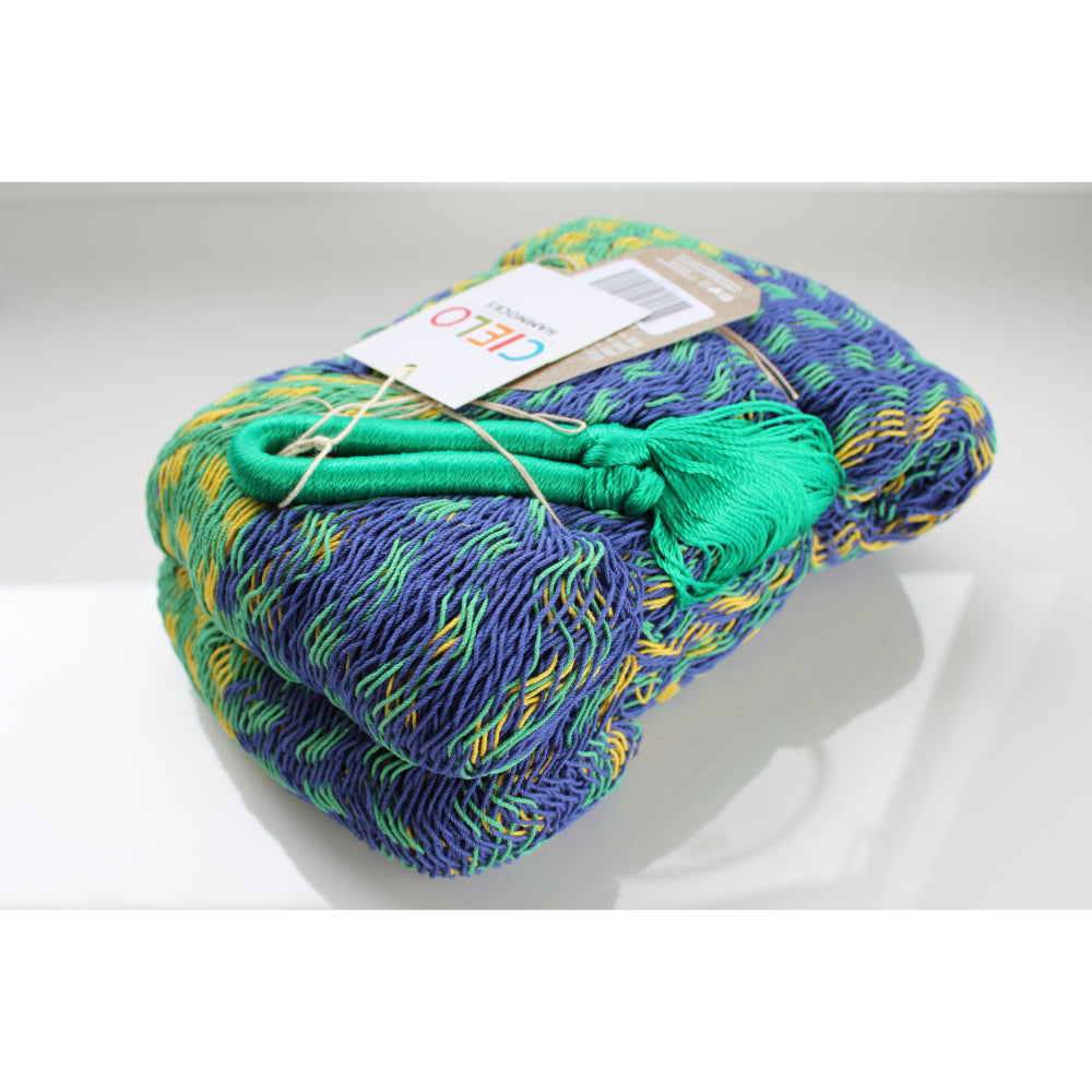 Green, Blue, Yellow Cotton Mexican Hammock