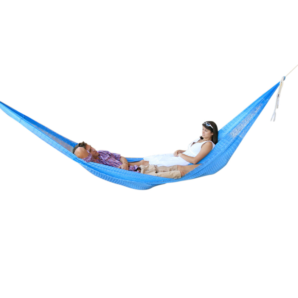 Light blue woven hammock