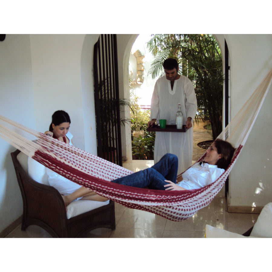 Maroon and White Large Hammock
