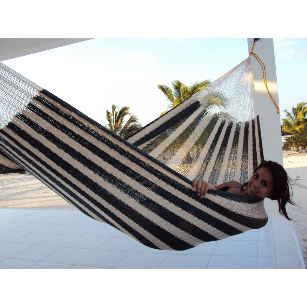Mexican cotton white and black handmade hammock