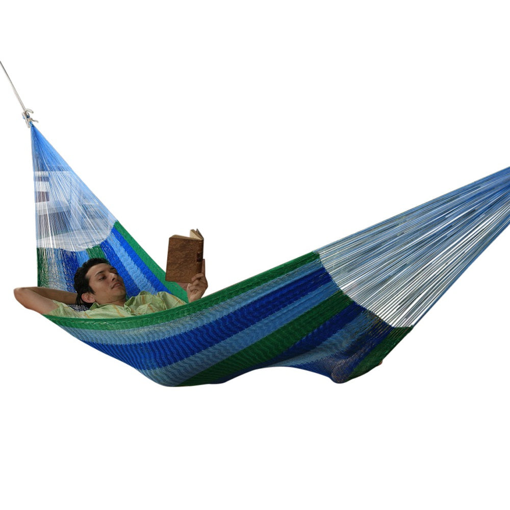 Blue and green woven hammock