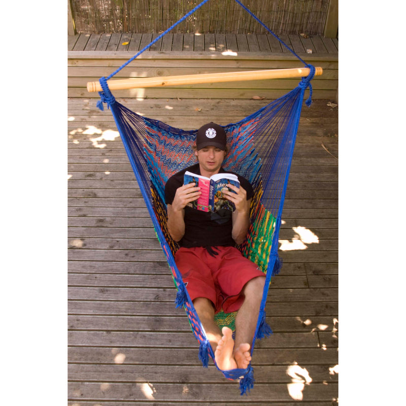 Mexican multi-coloured outdoor chair hammock