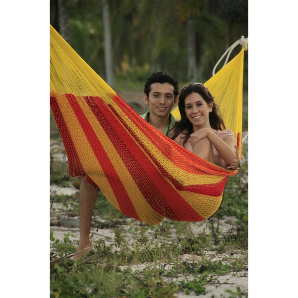 Two person Mexican woven cotton hammock