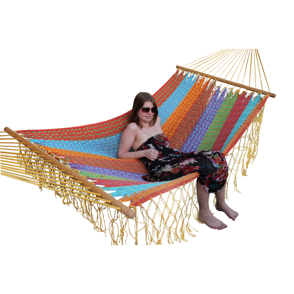 Multicolour Mexican resort style hammock