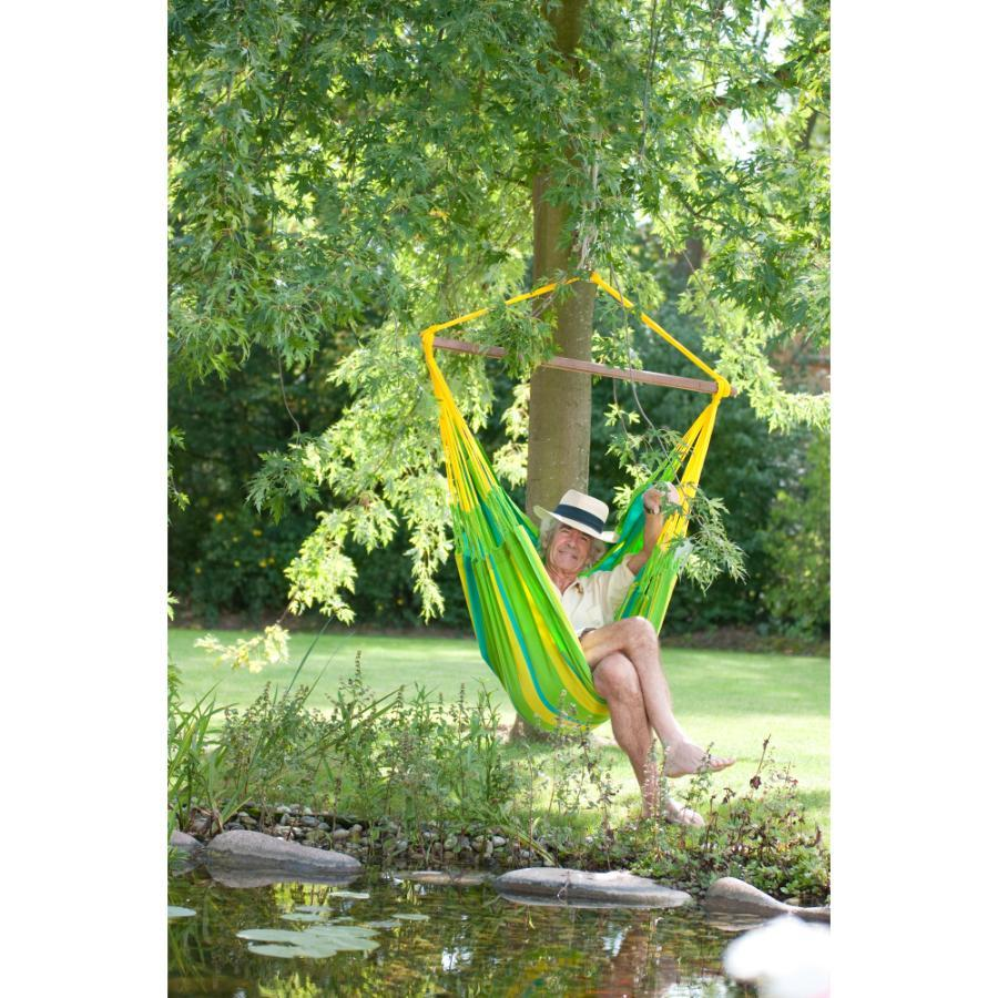 Green, yellow and blue hammock chair