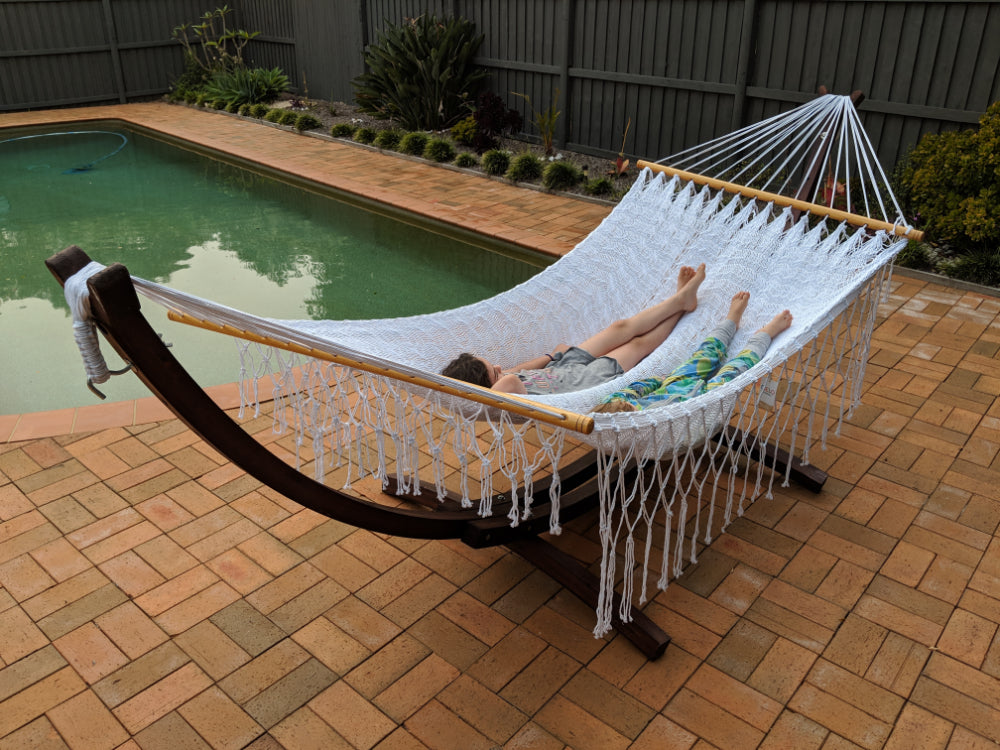 White Hammock and Wooden Stand