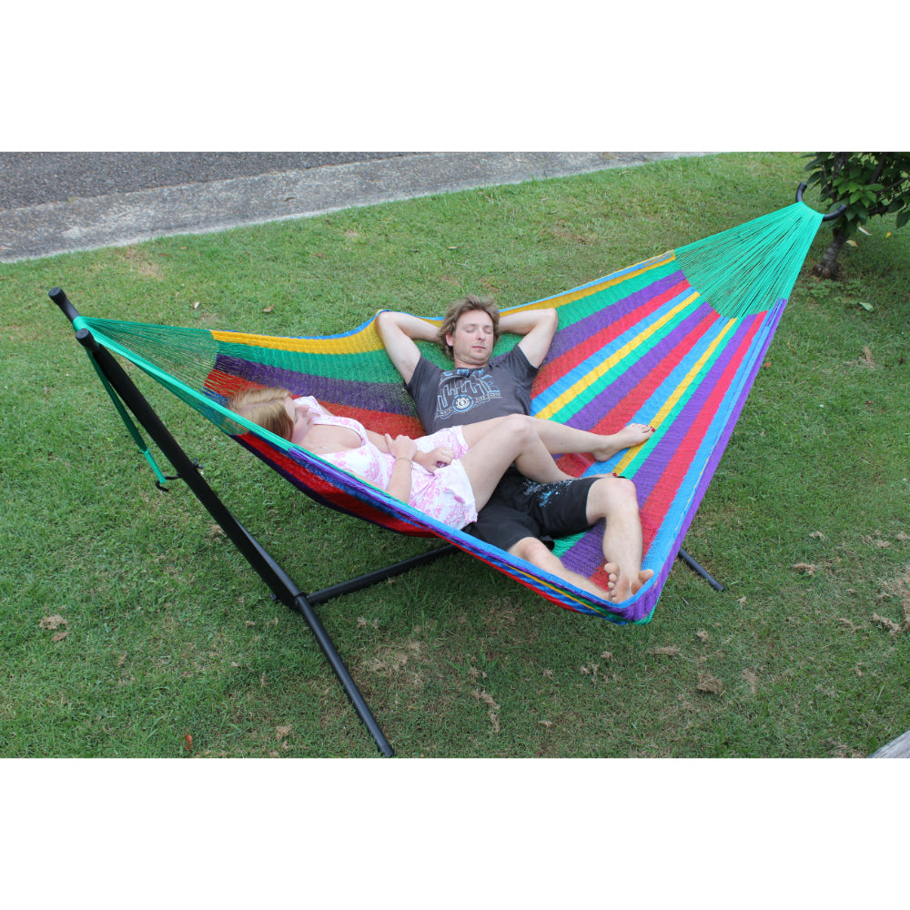 Metal hammock stand and Mexican queen hammock