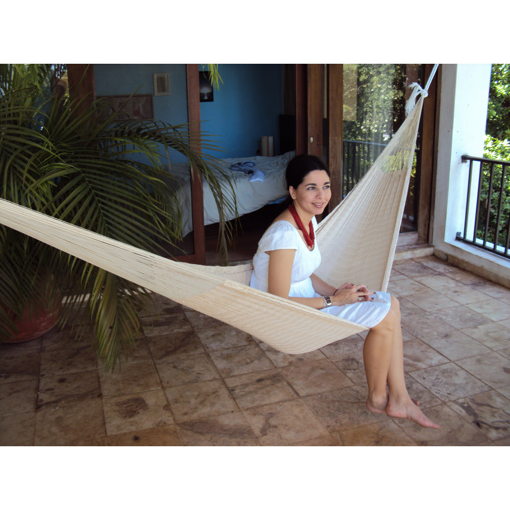 Indoor Hammock - Off White Cotton - Handmade