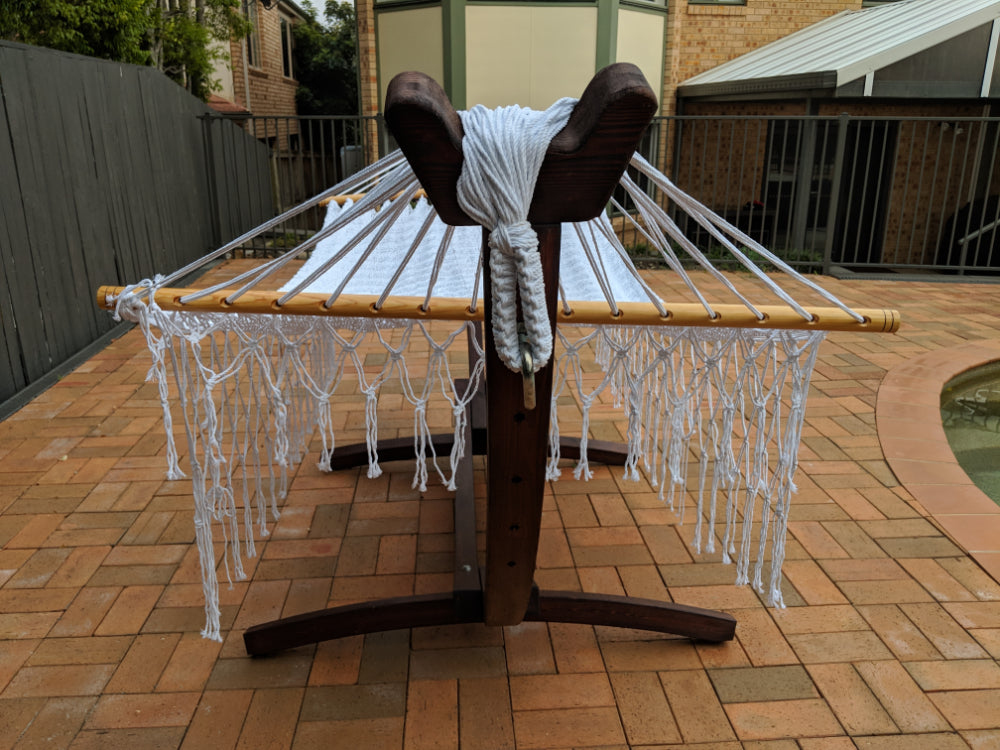 Polyester Bar Hammock on Wooden Stand