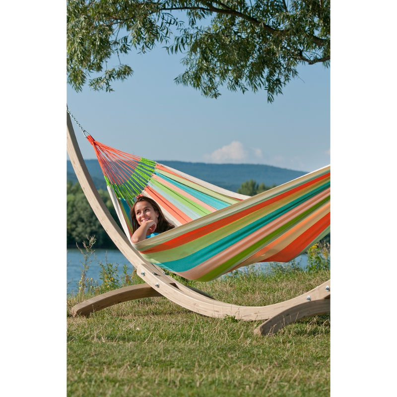 Wooden hammock stand and hammock