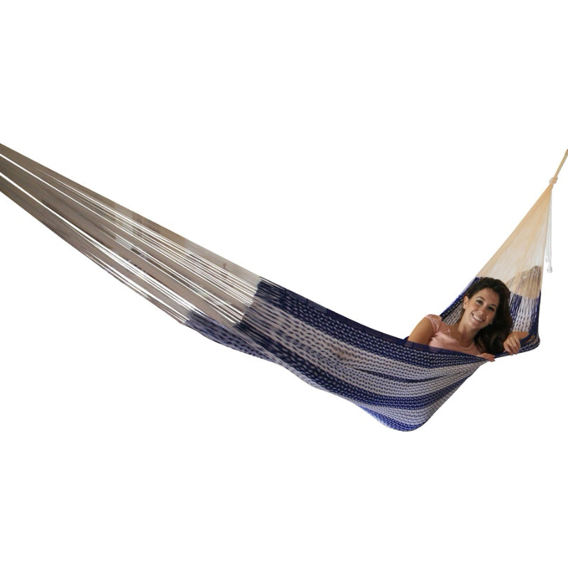 Blue and white hammock