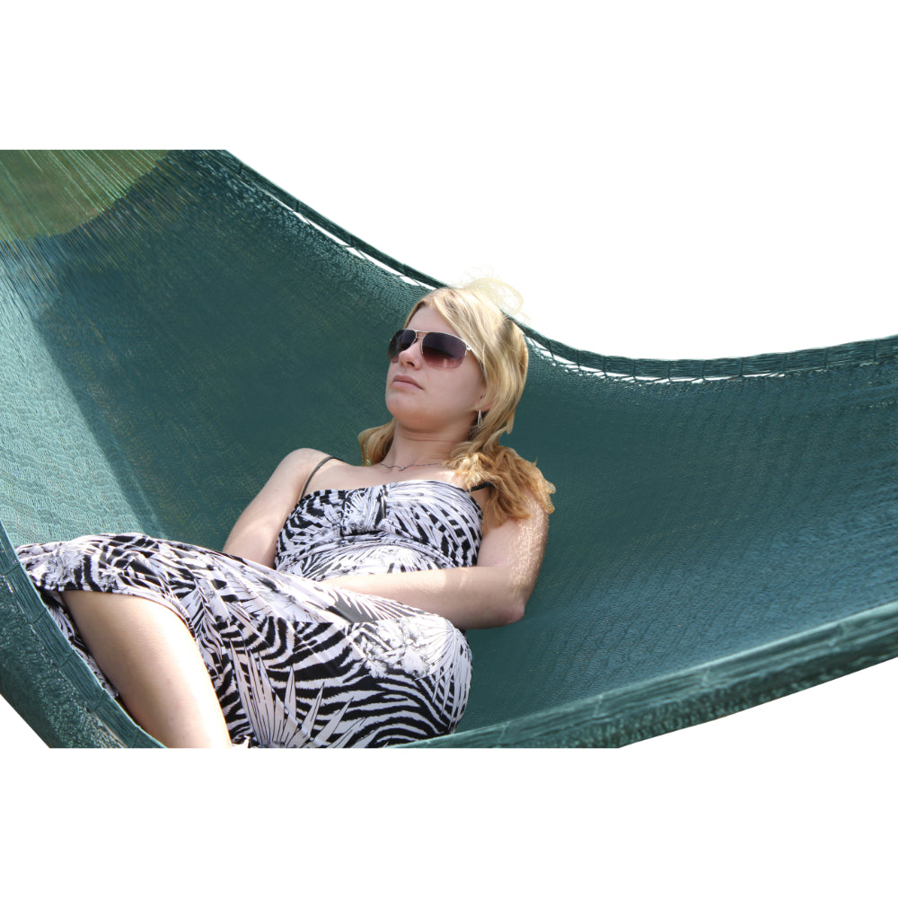 Forest green cotton woven hammock - Fair trade from Mexico