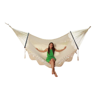 Mexican king size resort style hammock - white cotton