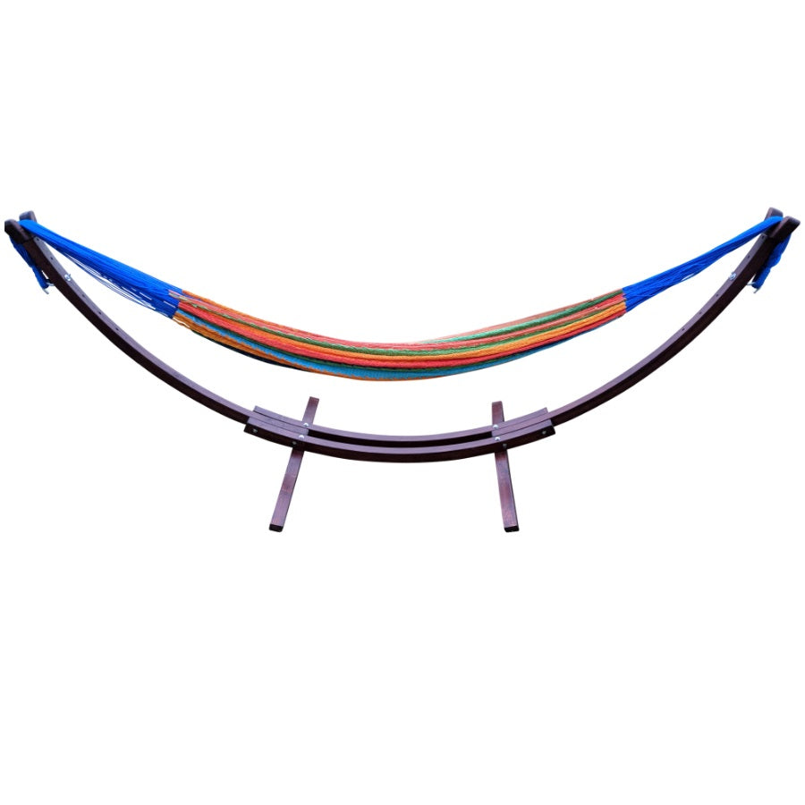 Cotton hammock and wooden hammock stand