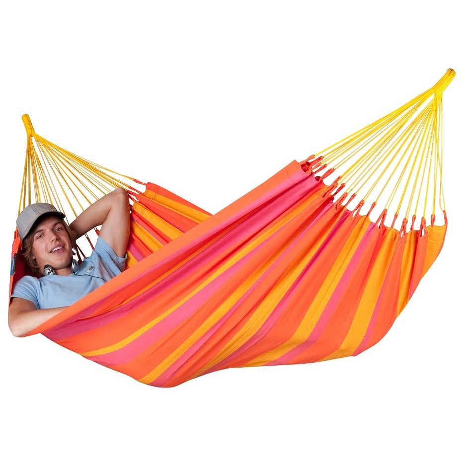 Single red outdoor hammock