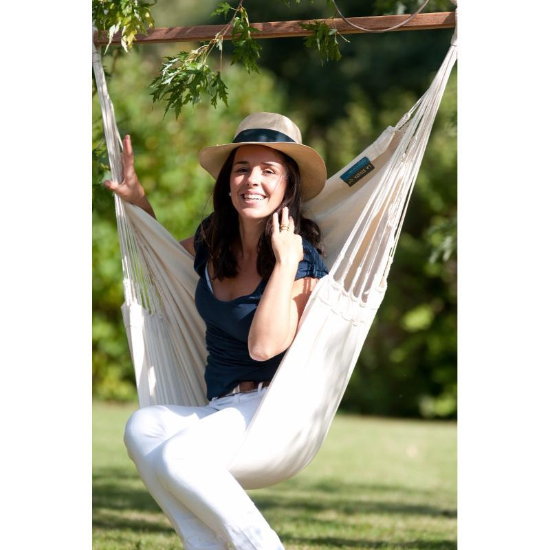 White cotton garden hammock