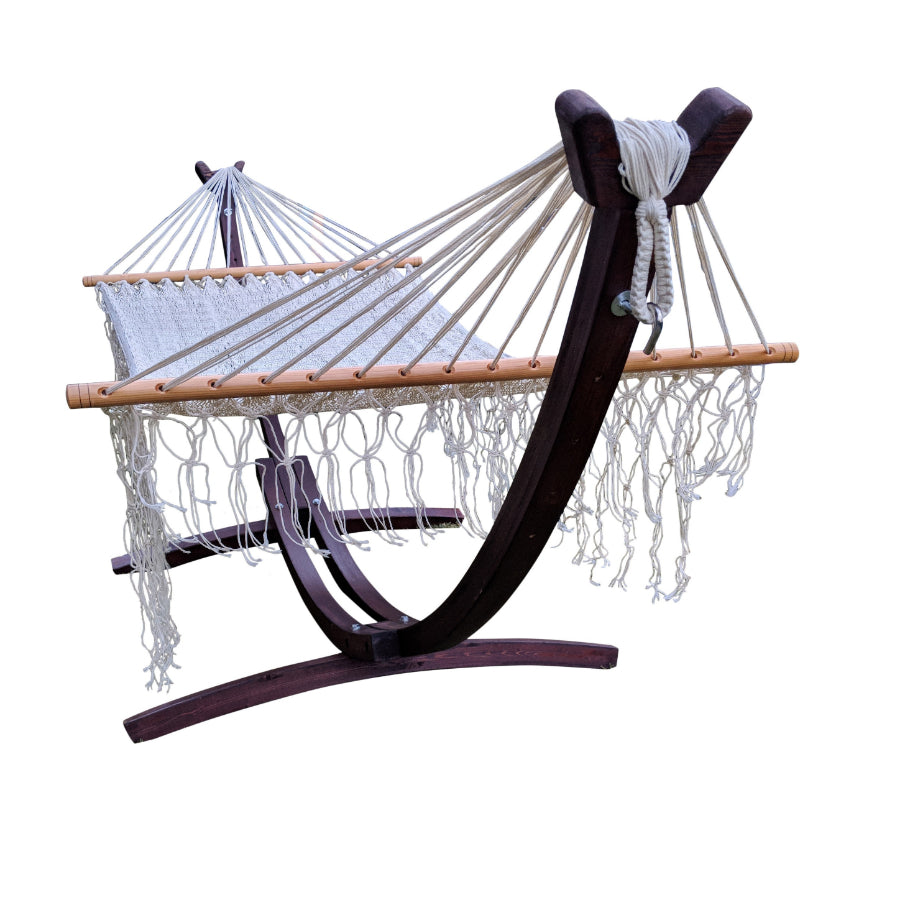 Wooden arc hammock stand and bar hammock