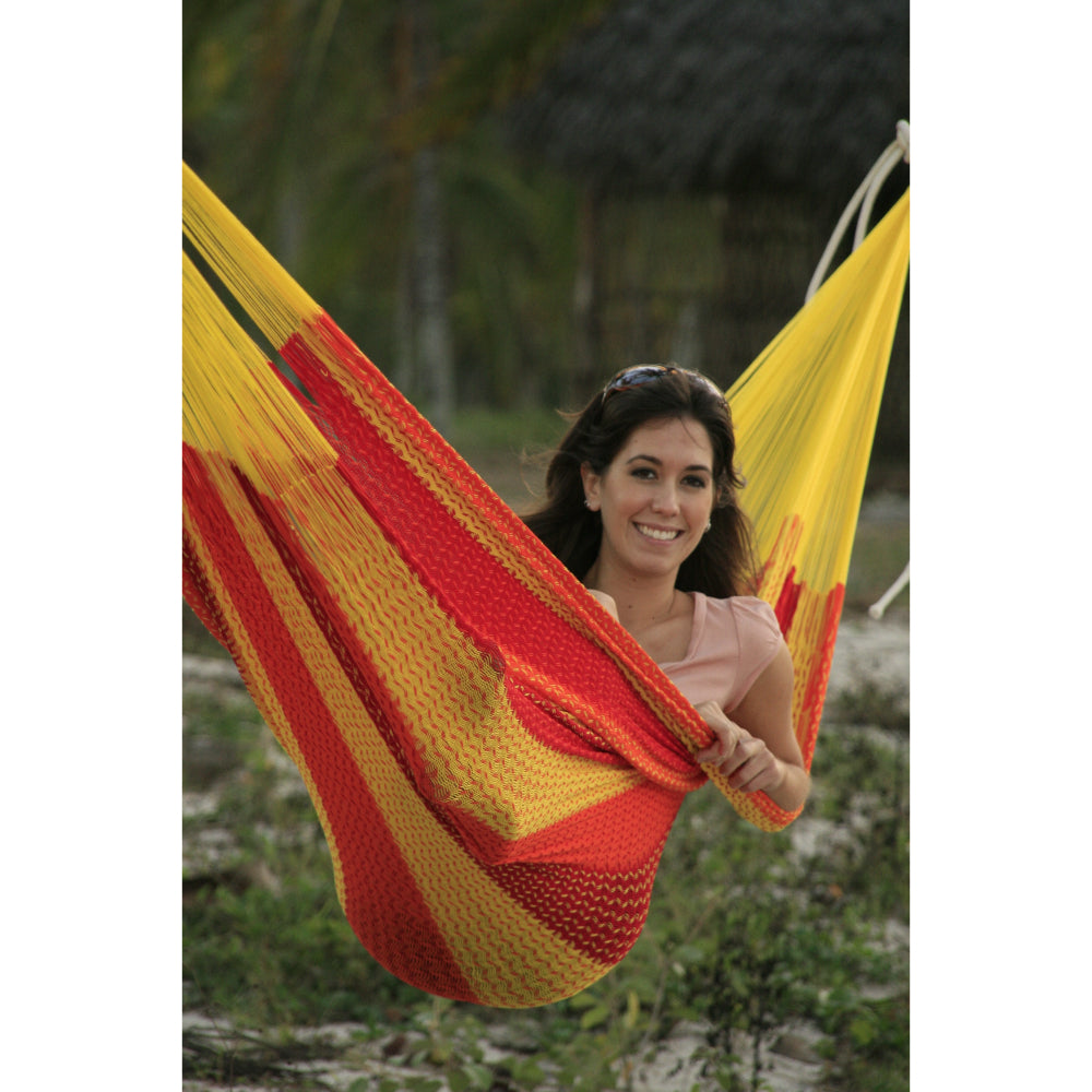Red, yellow and orange Mexican handmade hammock