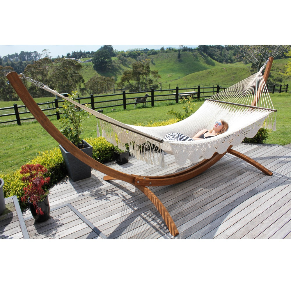 White Cotton XL Hammock - Resort Style Spreader Bar