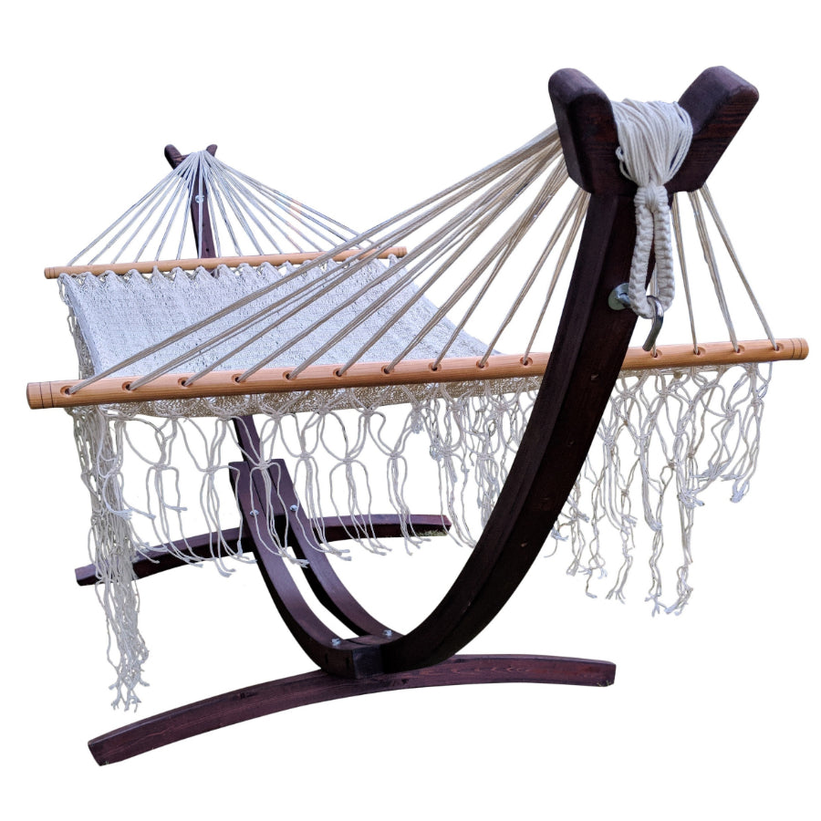 Curved wooden hammock stand and spreader bar hammock