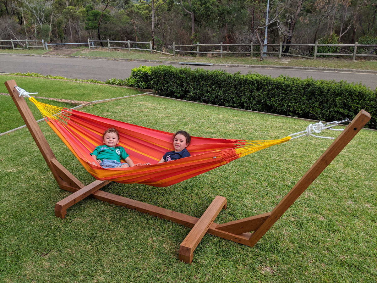 Hammock and Wooden Hammock Stand