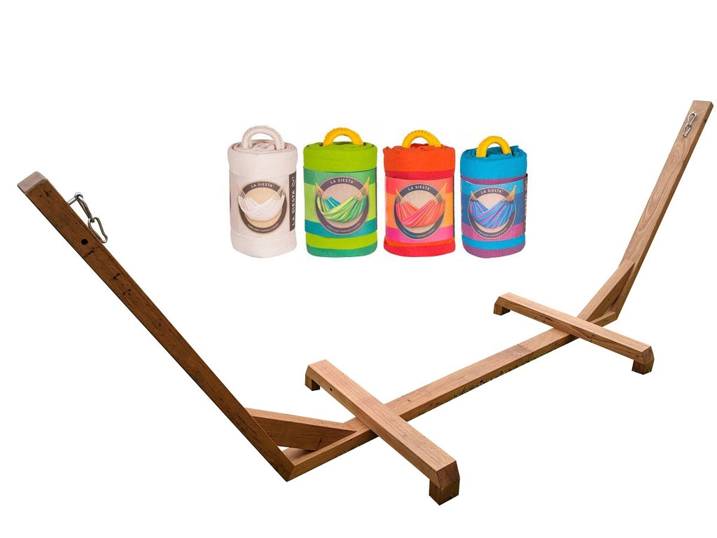 Wooden Hammock Stand and Single Hammock Package