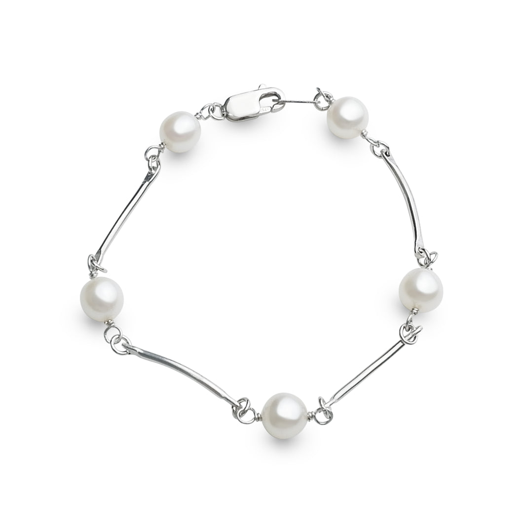 ROUND PEARLS WITH CURVED STERLING SILVER BRACELET