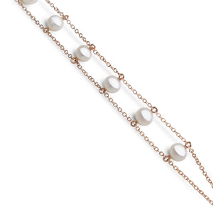 DELICATE PEARL SILVER CHAINS BRACELET