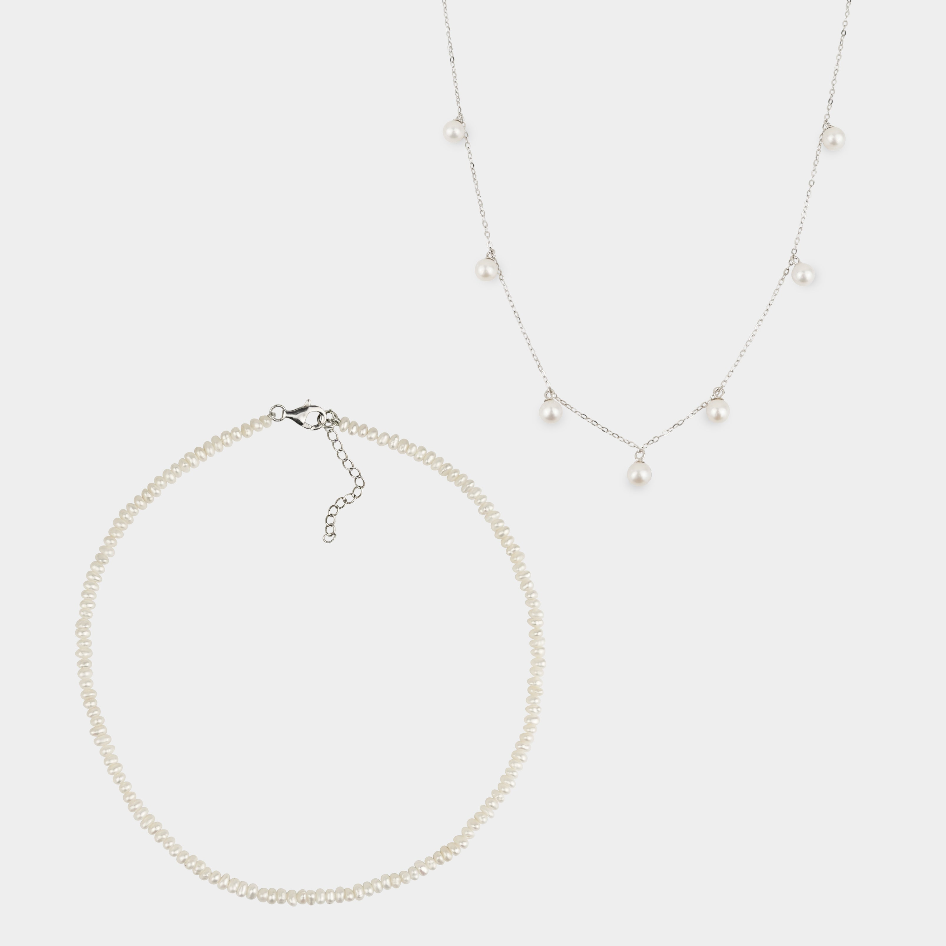 RAIN DROP PEARL NECKLACE + CHARLOTTE PEARL NECKLACE