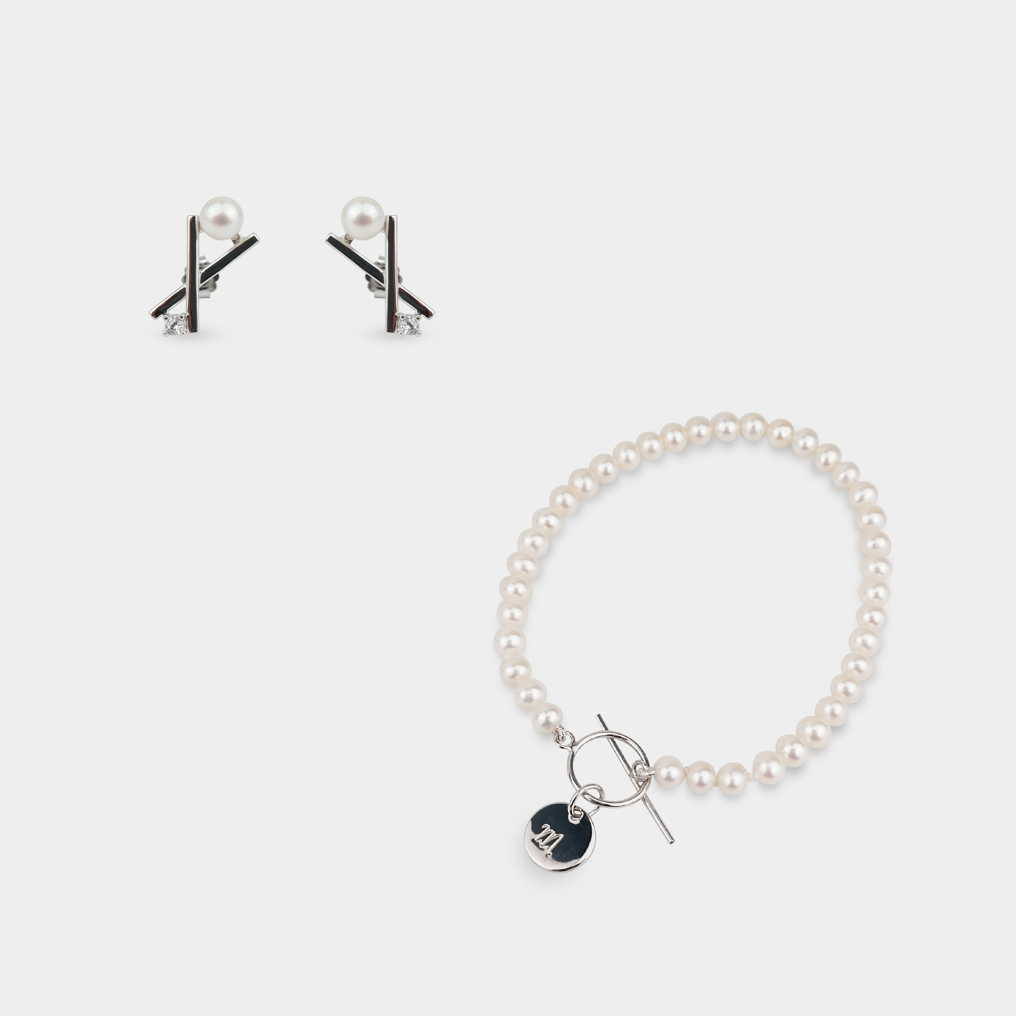 KAYLA PEARL EARRINGS + EXQUISITE INITIAL PEARL BRACELET