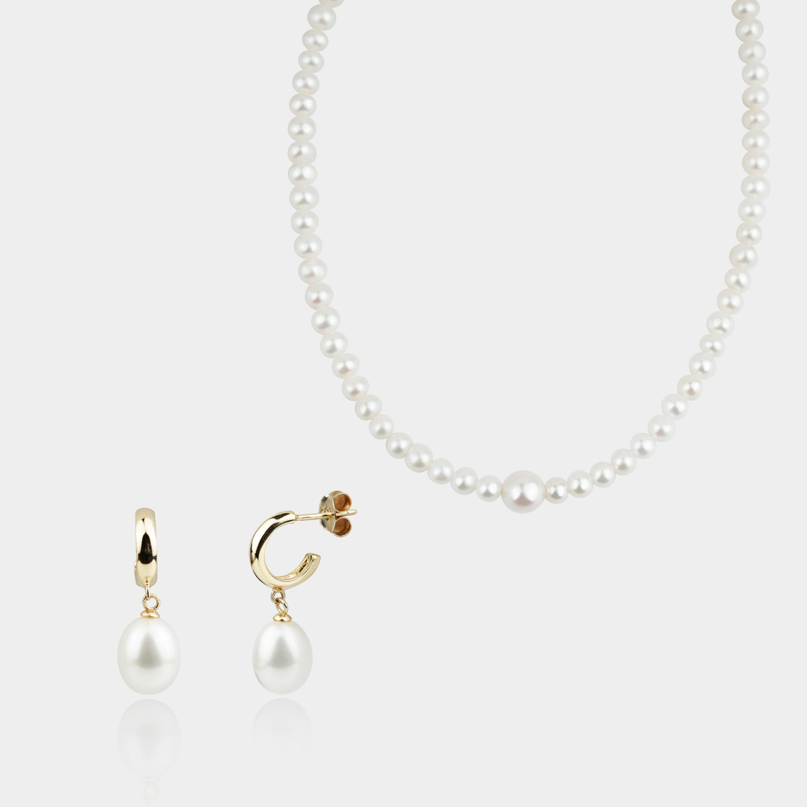 STERLING SILVER HOOP WITH DROP PEARL EARRINGS + EFFERVESCENCE PEARL CHOKER