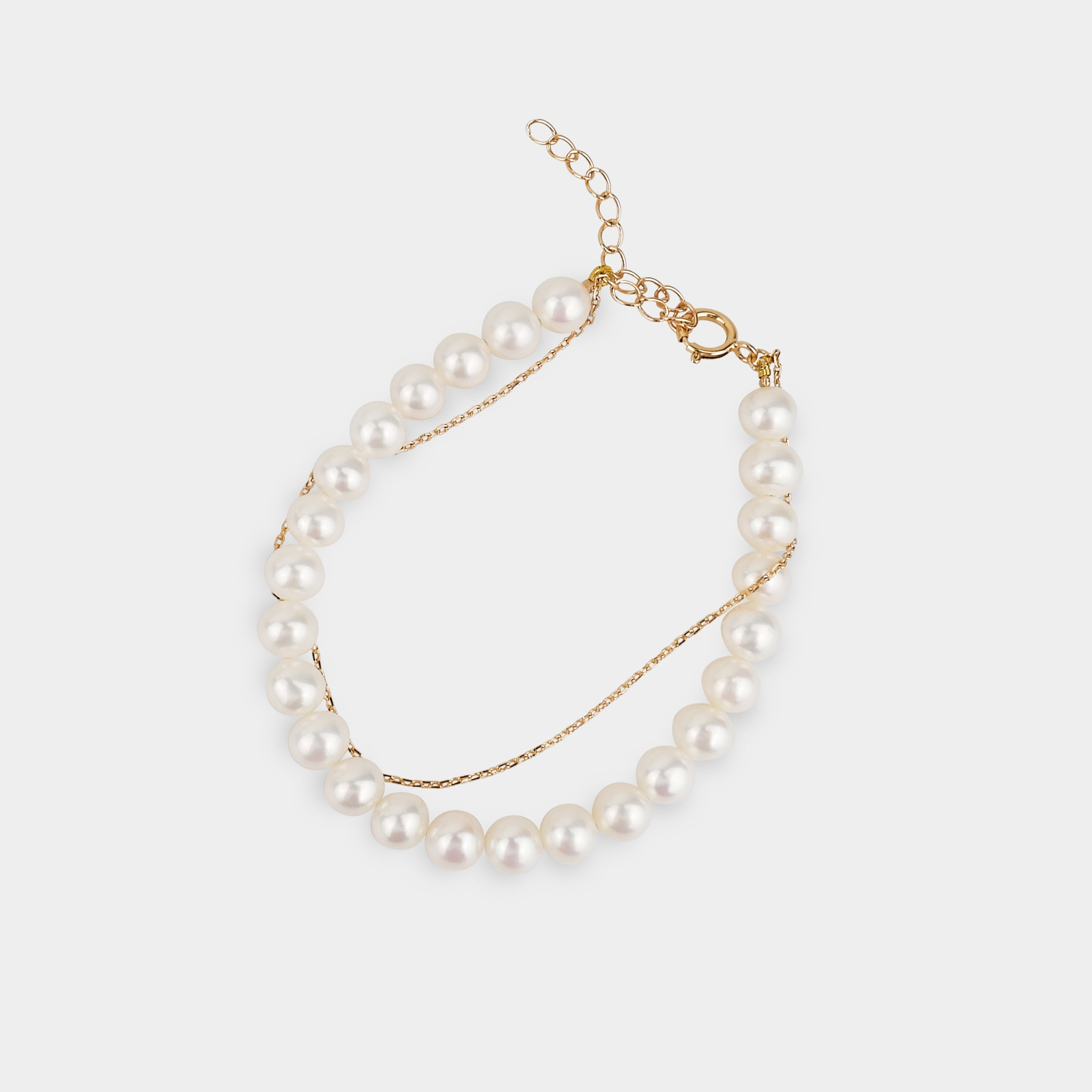 THE CLASSIC PEARL-SILVER LAYERING BRACELET