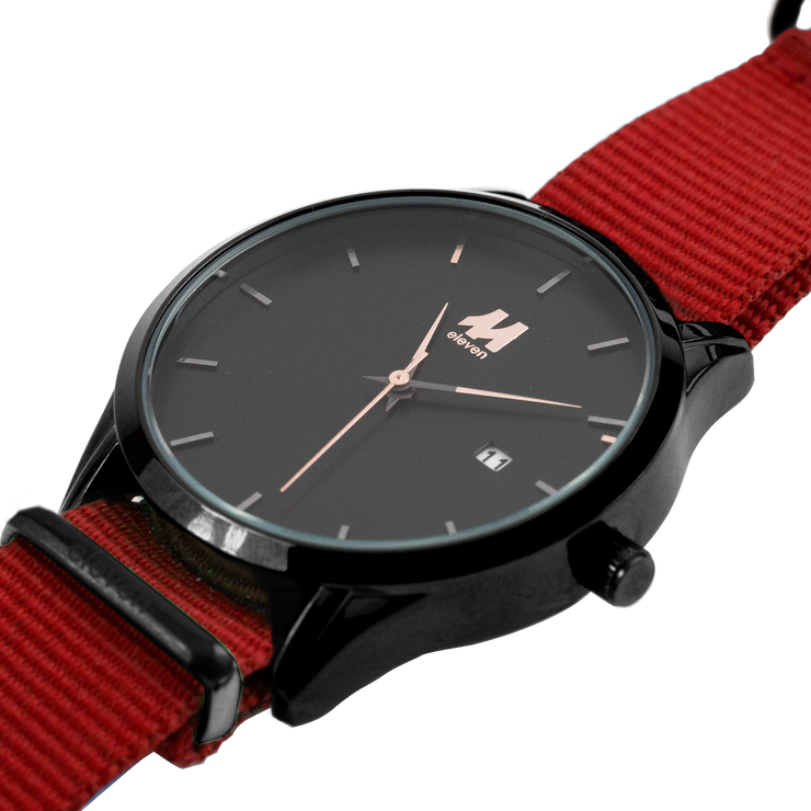 11 Watch - Black/Red Nylon