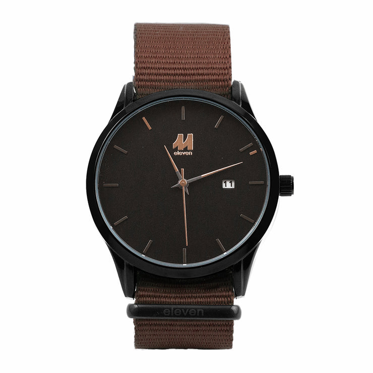 11 Watch - Black/Brown Nylon
