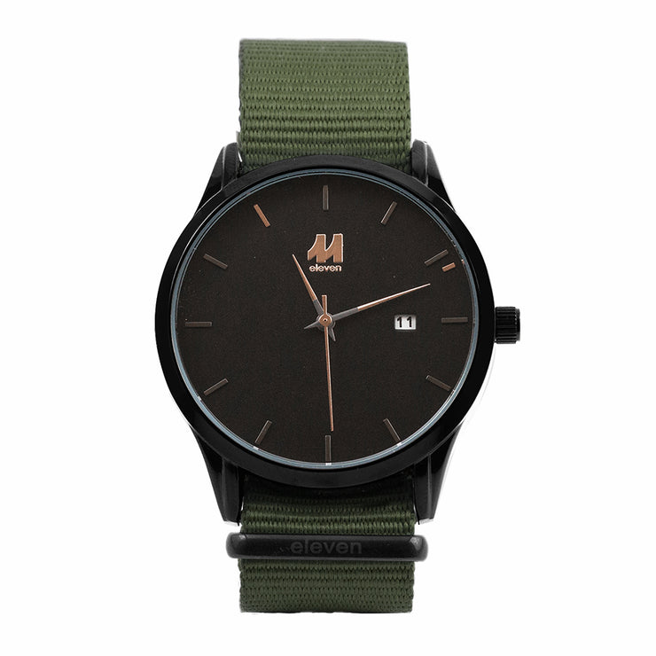 11 Watch - Black/Green Nylon