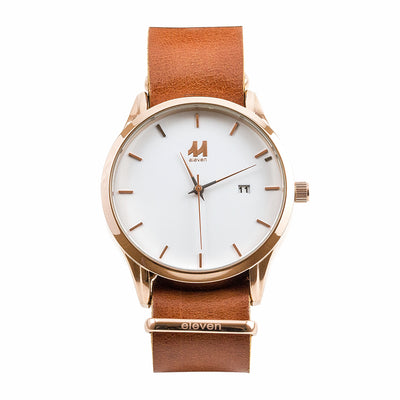 11 Watch - Gold/Brown Leather