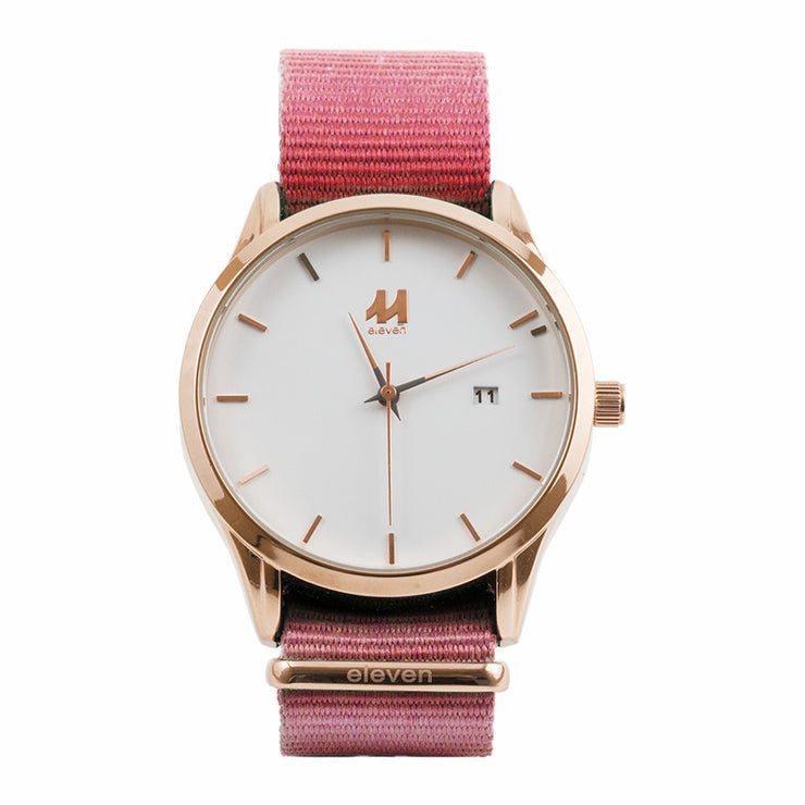 11 Watch - Gold/Pink Nylon