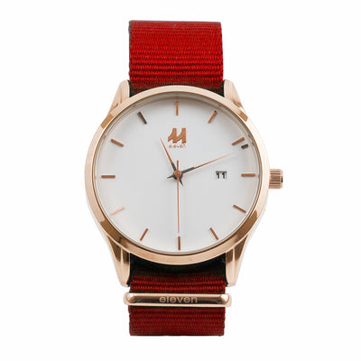 11 Watch - Gold/Red Nylon