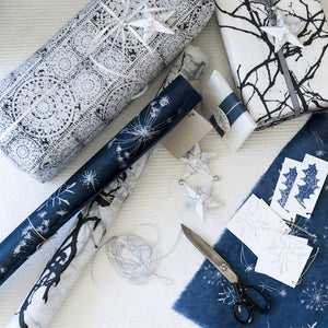 Silk Paper Gift Wrap - 'Laos' Black/White