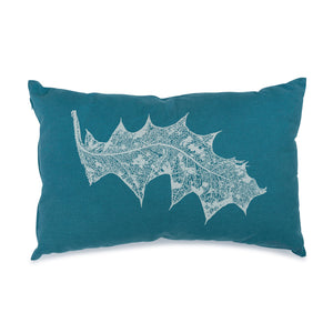 White Grevillea on Turquoise 30cm x 50cm Cushion