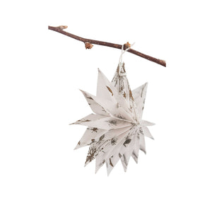 Silk Paper Folding Star, Small Gold on White