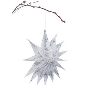Silk Paper Folding Star, Large Silver on White