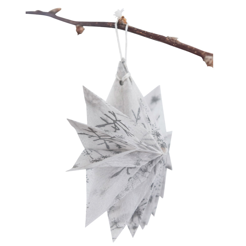 Silk Paper Folding Star, Small Silver on White