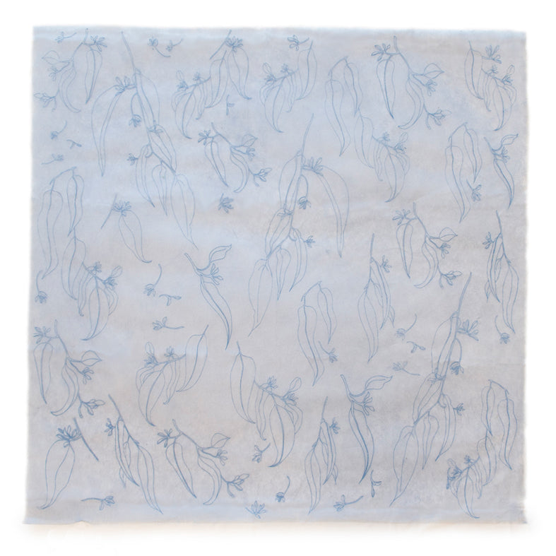 Silk Paper Gift Wrap - 'Jarrah Leaf' Blue/Dusty Blue
