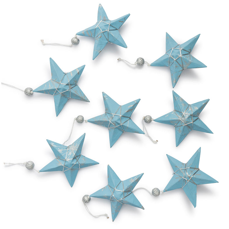 Silver & Pale Blue Star Ornament Set 8