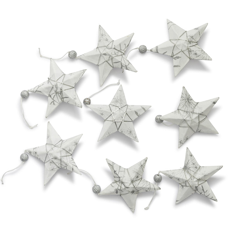 Silver & White Star Ornament Set 8