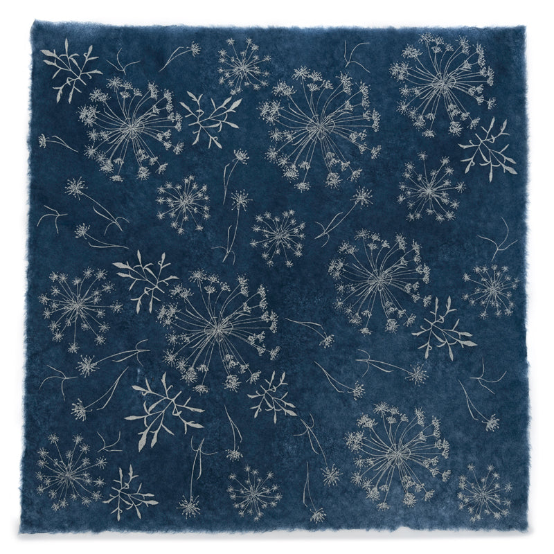 Silk Paper Gift Wrap - 'Bloom' Silver/Indigo