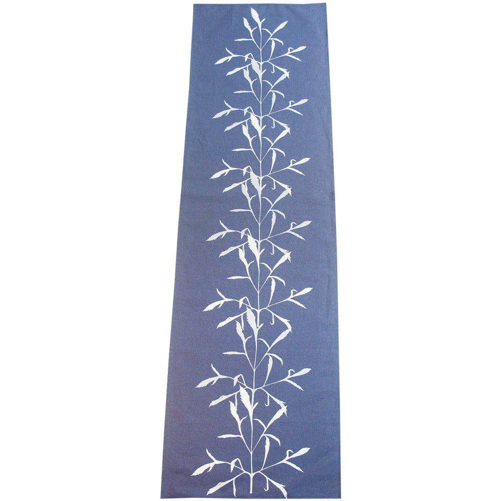 Silver Leaf on Indigo Table Runner
